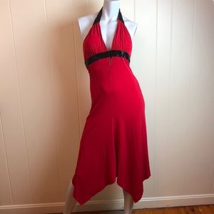 Cache Red Black Party Dress w/ Beaded Accents